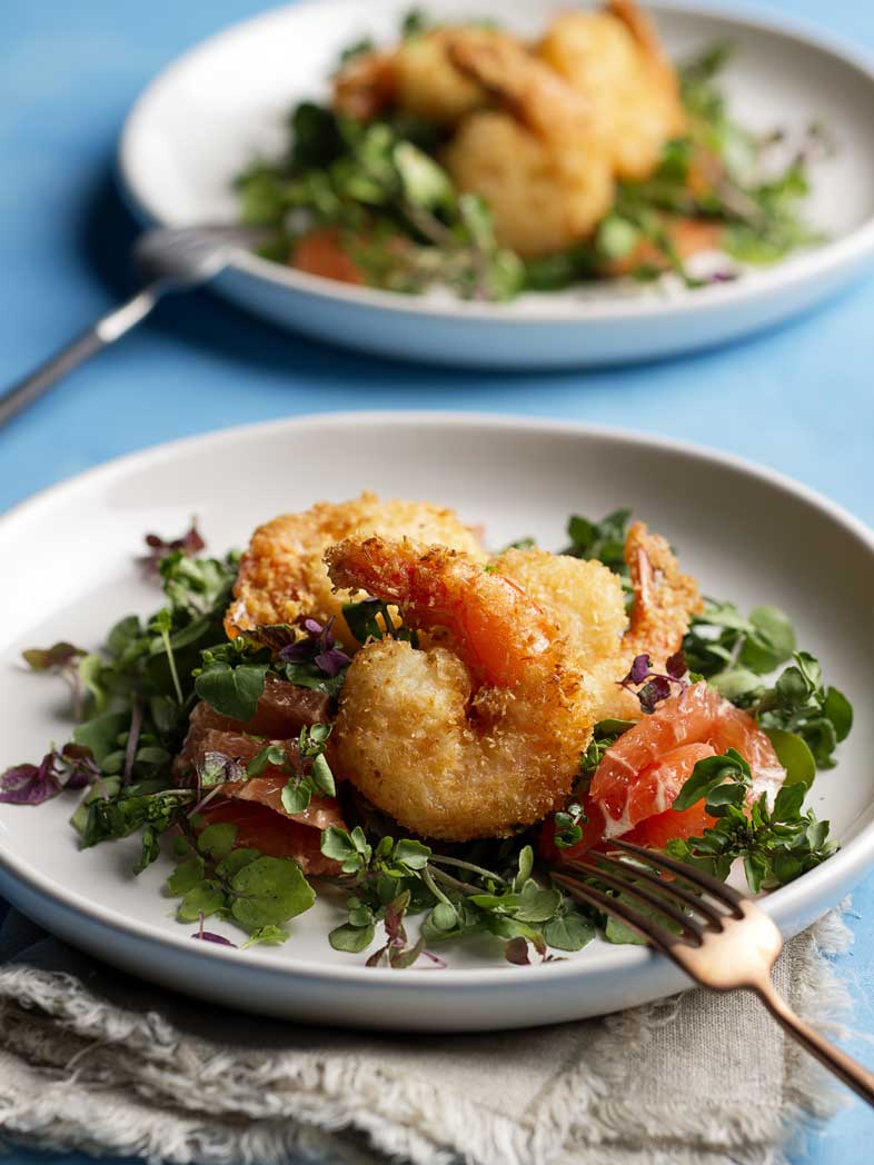 Coconut Crumbed Prawns with Grapefruit Salad